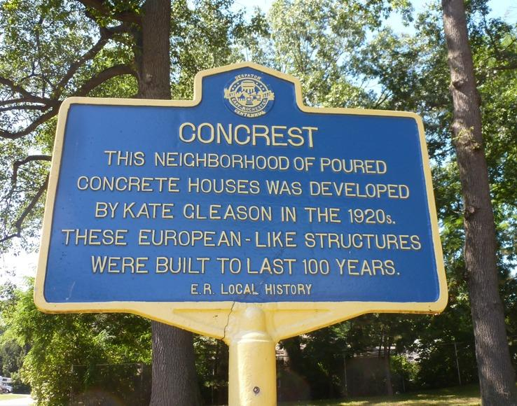 Historical marker for the Concrest neighborhood