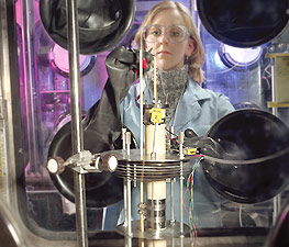Laurel Barnes tests the process of recycling nuclear fuel into metal.