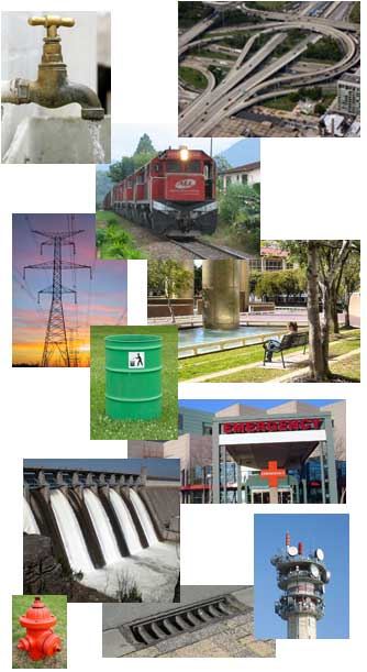 A collection of photographs depicting different elements of infrastructure